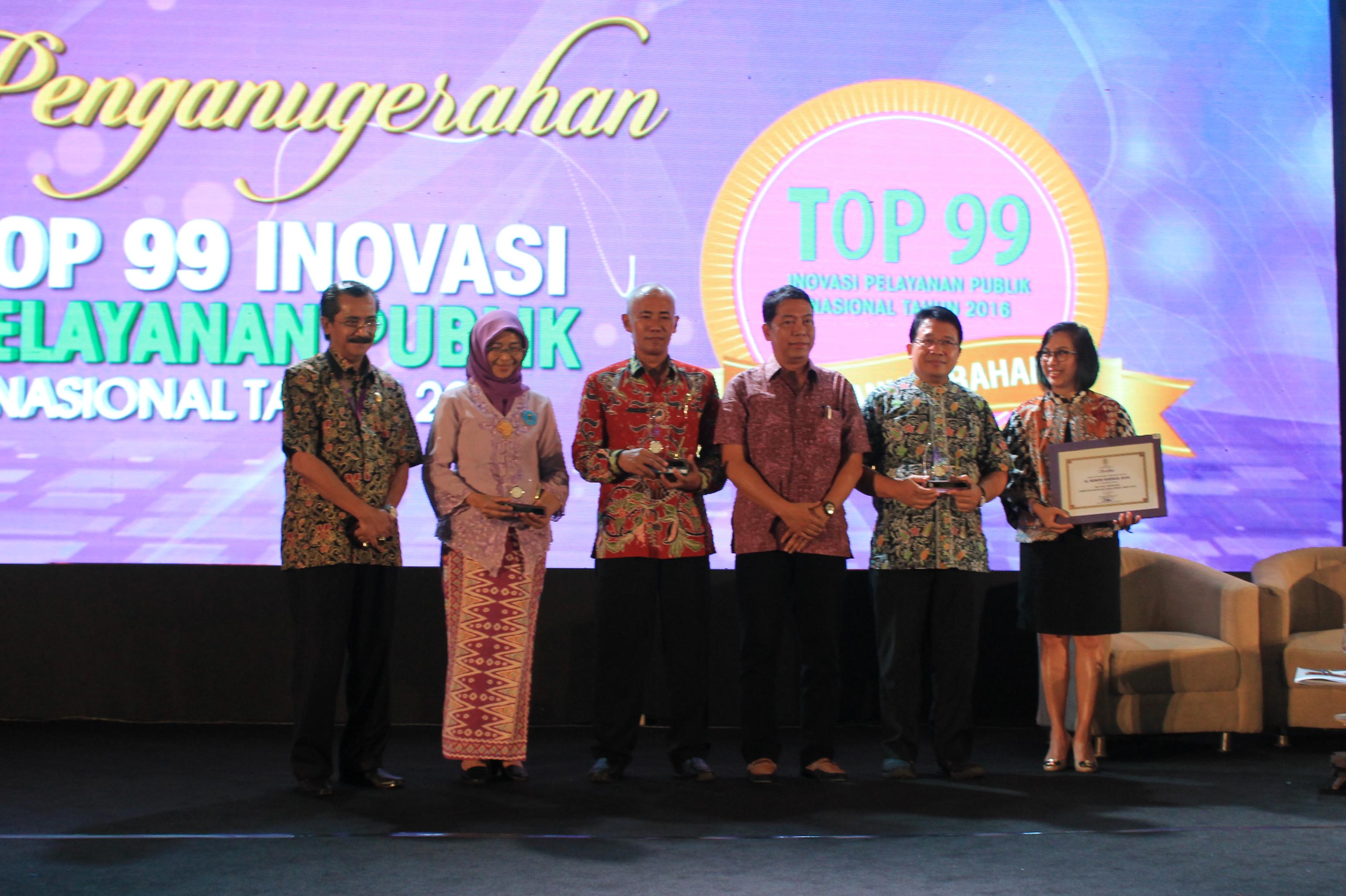 Penghargaan Top 99 Inovasi Pelayanan Publik<BR>Tahun 2016